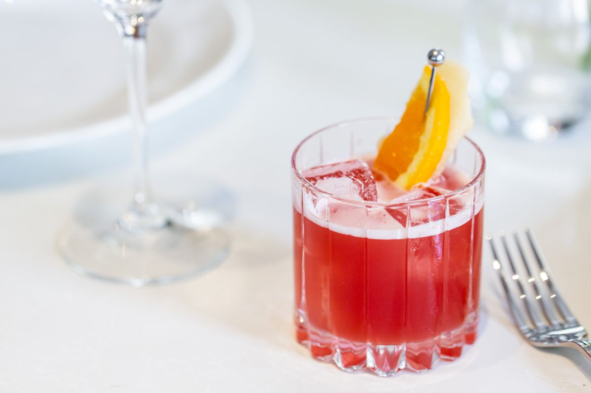 The Inside Kick with cognac, cranberry, maple, lemon, ginger, and cardamom