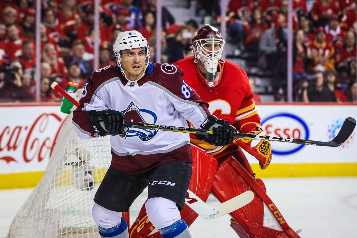 Apr 11, 2019; Calgary, Alberta, CAN; Colorado Avalanche left wing Matt Nieto (83) skates in front of Calgary Flames goaltender Mike Smith (41) during the third period in game one of the first round of the 2019 Stanley Cup Playoffs at Scotiabank Saddledome