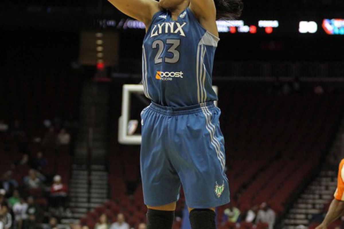 May 22, 2012; Newark, NJ, USA; Minnesota Lynx forward Maya Moore (23) takes a shot during the game against the New York Liberty at the Prudential Center. Mandatory Credit: Brad Penner-US PRESSWIRE