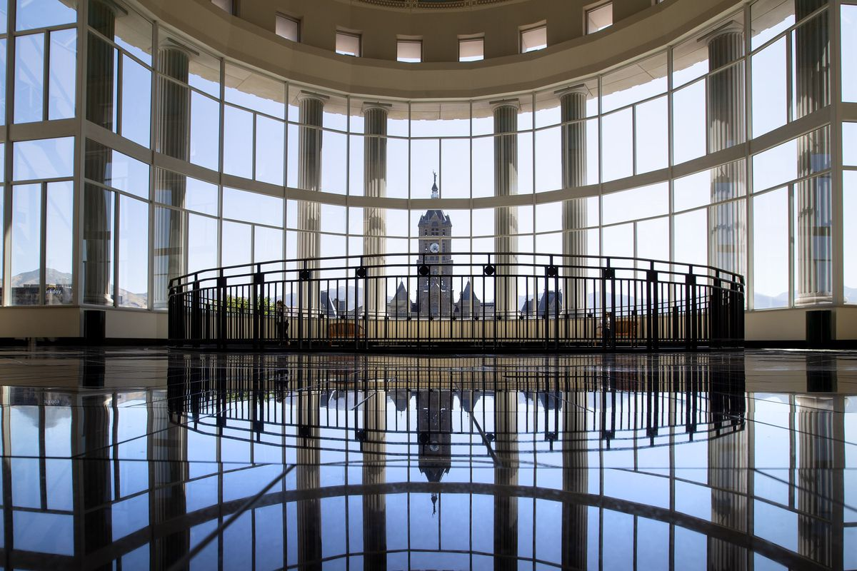 The Salt Lake City-County Building photographed from inside the Matheson Courthouse on Monday, Aug. 12, 2019.