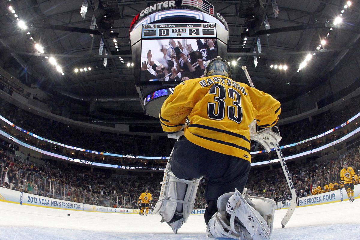 Quinnipiac goaltender Eric Hartzell didn't have his best performance in the national championship game against in state rival Yale.