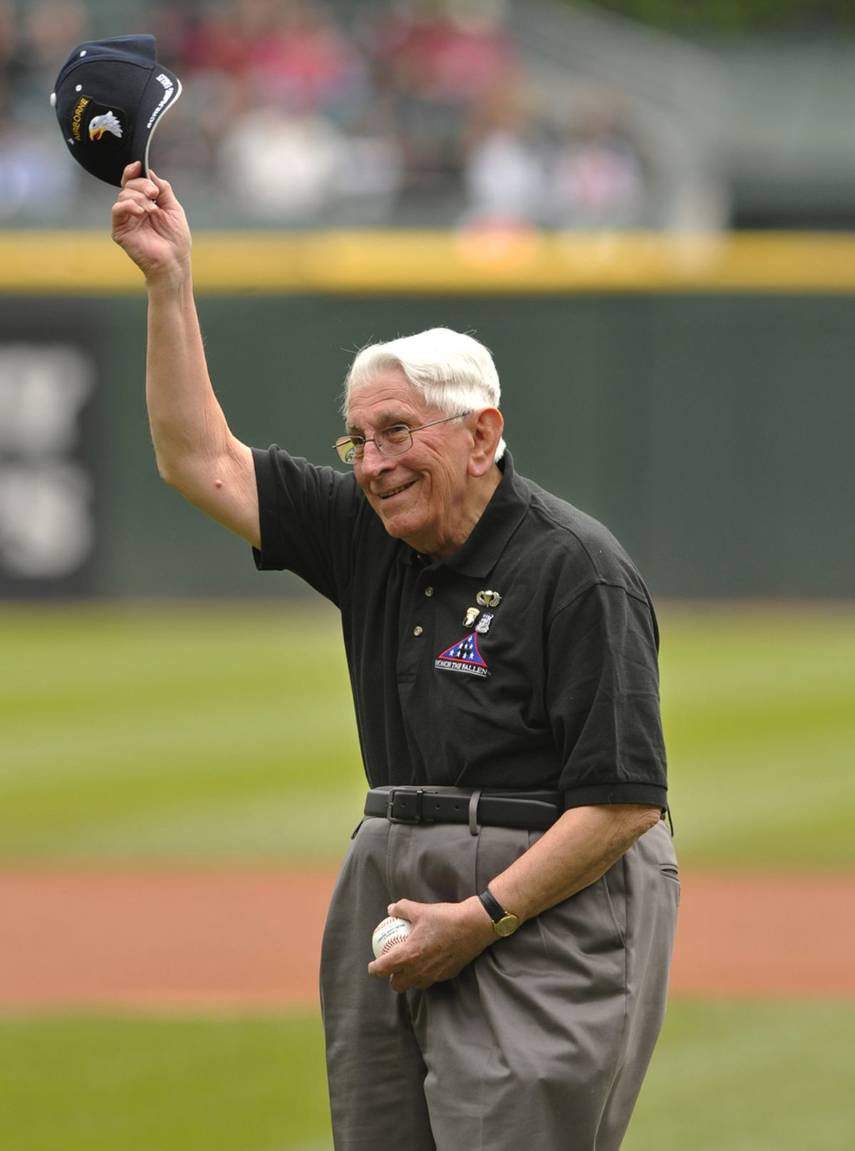 Al Mampre on the field to throw out the ceremonial first pitch before a White Sox game May 26, 2013.