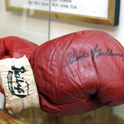 Former middleweight boxing champion Gene Fullmer's gloves on display in the West Jordan History Museum August 14, 2012.