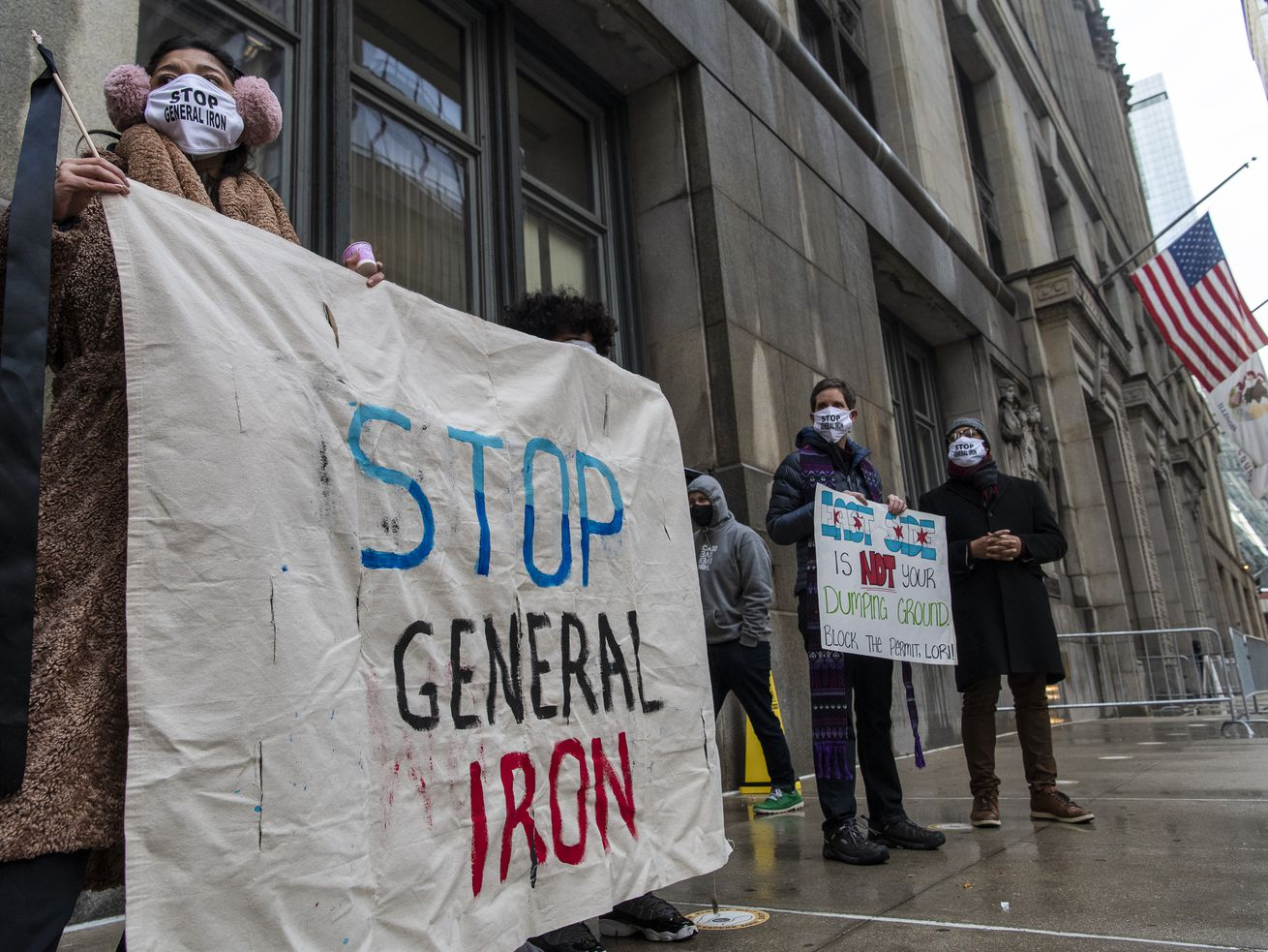 Protesters rallied outside City Hall last month, protesting the relocation of a General Iron metal shredding operation to the Southeast Side.
