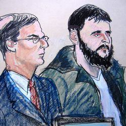 FILE - In this Jan. 9, 2010 courtroom file sketch, defendant Adis Medunjanin, right, accused of becoming an al-Qaida operative, sits with his defense attorney Robert Gottlieb at the federal courthouse in New York. A federal prosecutor said Monday, April 16, 2012, that Medunjanin discussed bombing New York City movie theaters, Grand Central Terminal, Times Square and the New York Stock Exchange before settling on the city's subways.