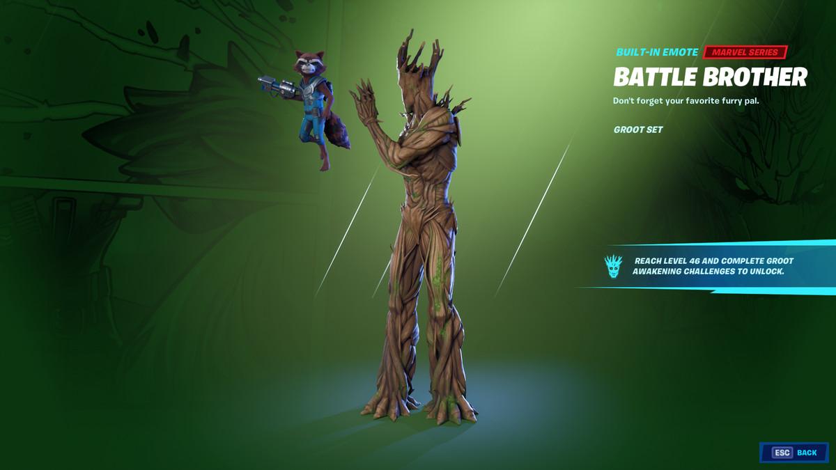 Fortnite's Groot and Rocket Raccoon emote
