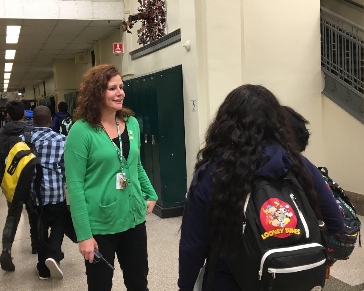 Senn High School Principal Mary Beck talks to students.