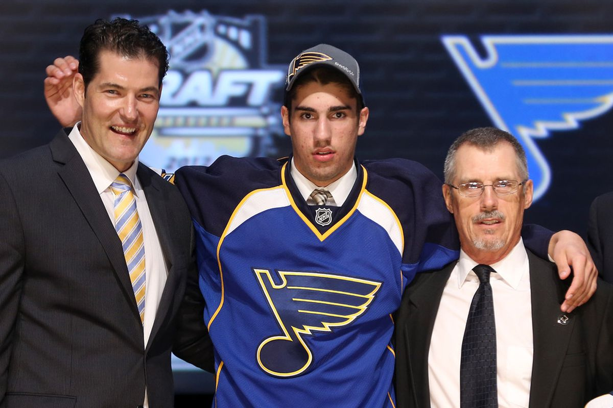 """Is this the face of the Blues' fourth-best prospect? """"Game Time"""" Nation, speak your piece in the poll today, and in the ones that follow.  (Photo by Bruce Bennett/Getty Images)"""