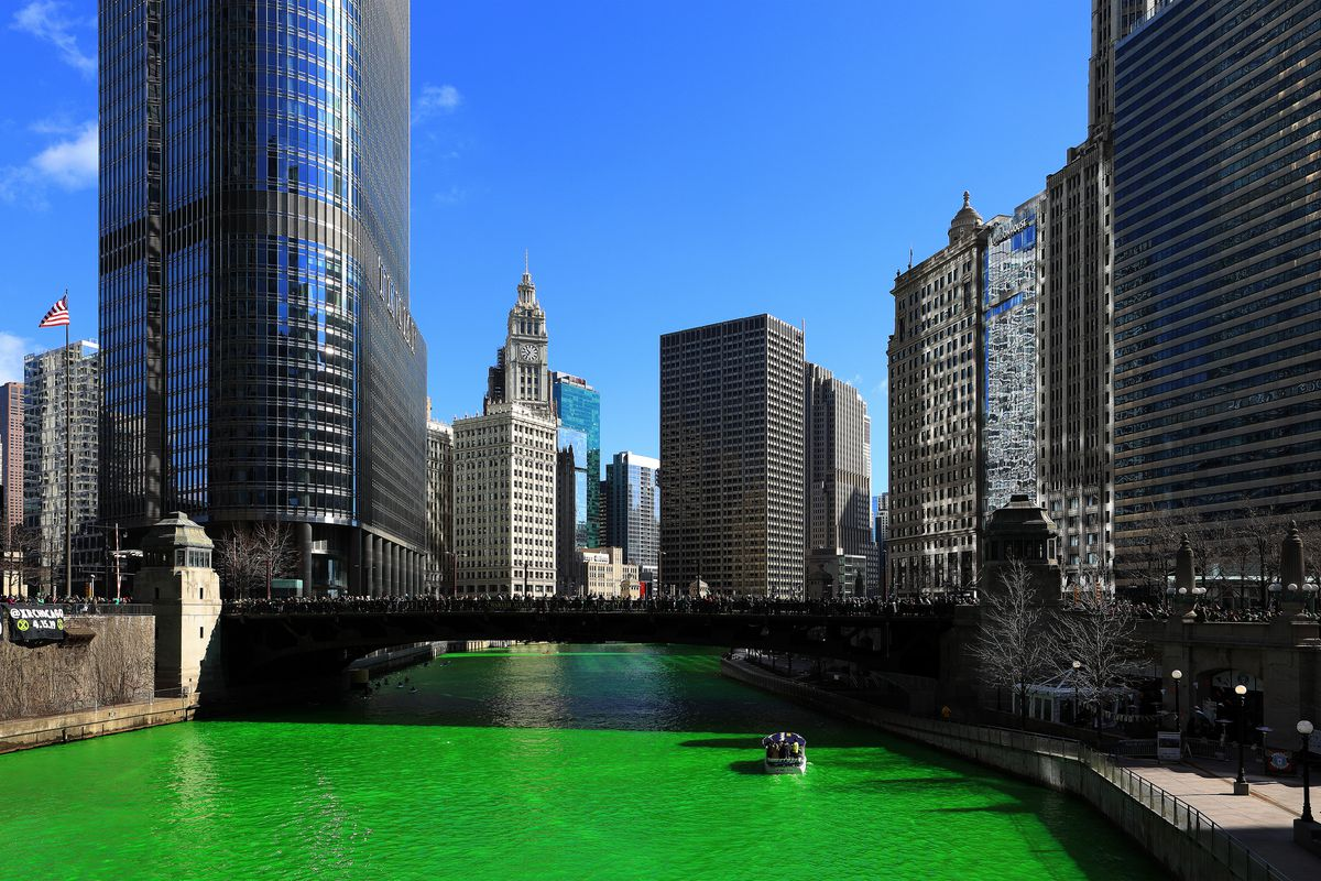 The Chicago River Goes Green For St. Patrick's Day 2019