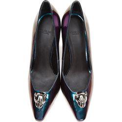 """<b>Mugler</b>, <a href=""""https://www.ssense.com/women/product/mugler/purple-iridescent-leather-panther-pumps/83591"""">$382</a> (from $1,275)"""
