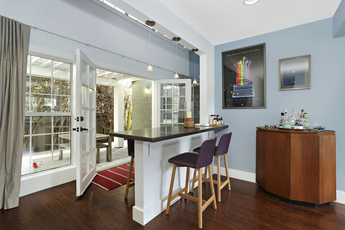 Breakfast bar with French doors beyond