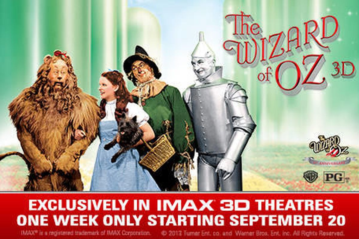 """New poster for the IMAX/3D reissue of """"The Wizard of Oz"""" reveals it has been re-rated from a G to a PG with the logo in the lower right corner."""