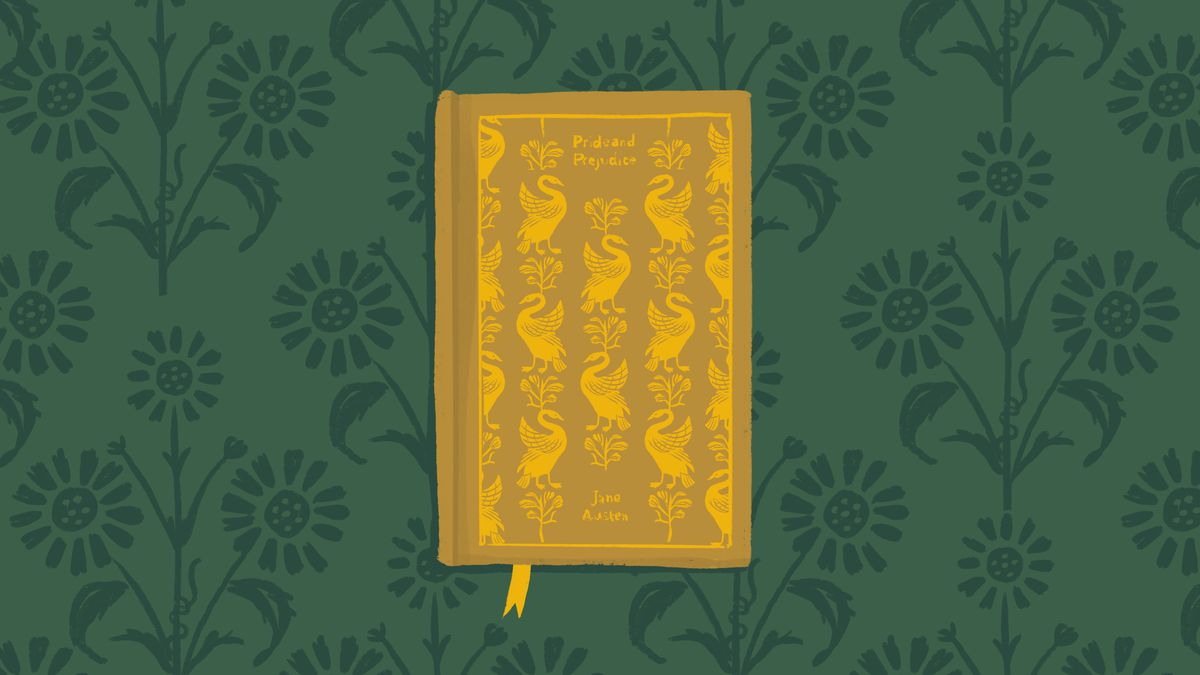 An illustration of a yellow book on a green background.
