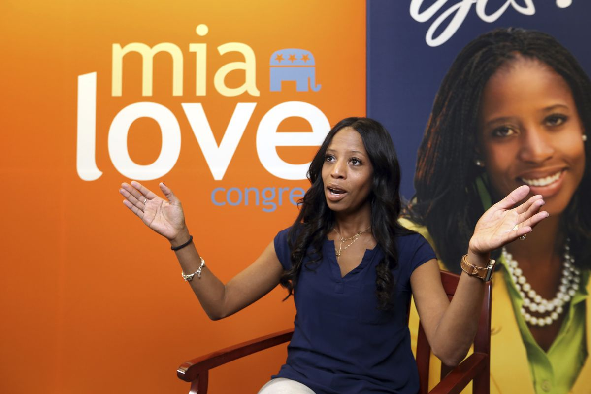 FILE - In this Sept. 17, 2018, photo, Republican U.S. Rep. Mia Love speaks during an interview in Murray, Utah. Love is battling Salt Lake County Mayor Ben McAdams for Utah's 4th Congressional District.