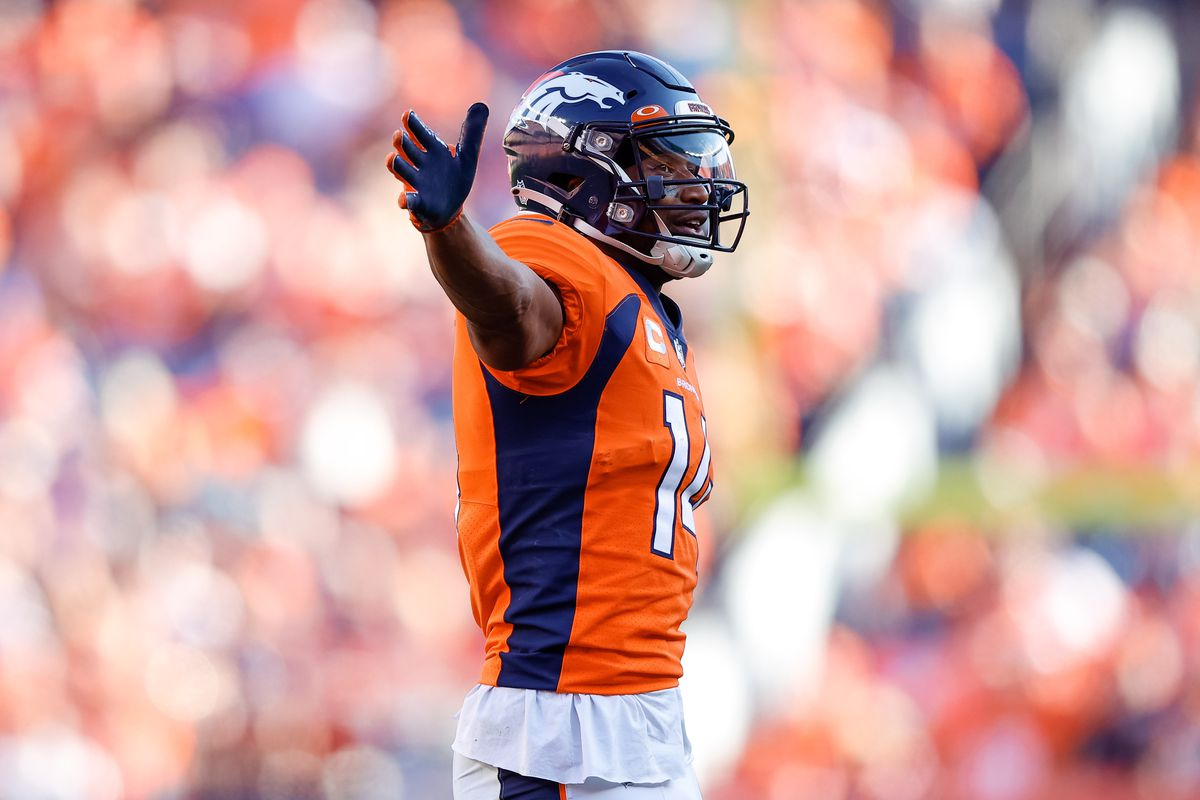Denver Broncos wide receiver Courtland Sutton (14) reacts after a play in the fourth quarter against the New York Jets at Empower Field at Mile High.