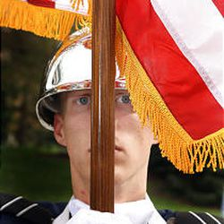 Daniel Jenson of Air Force ROTC Color Guard at BYU practices.