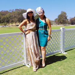 Karen Lin in a Haute Hippie dress, Fendi sunglasses and Alexis Bittar earrings; Kathy Wong in a vintage fascinator, BCBG dress, Chanel necklace and Michael Kors shoes.