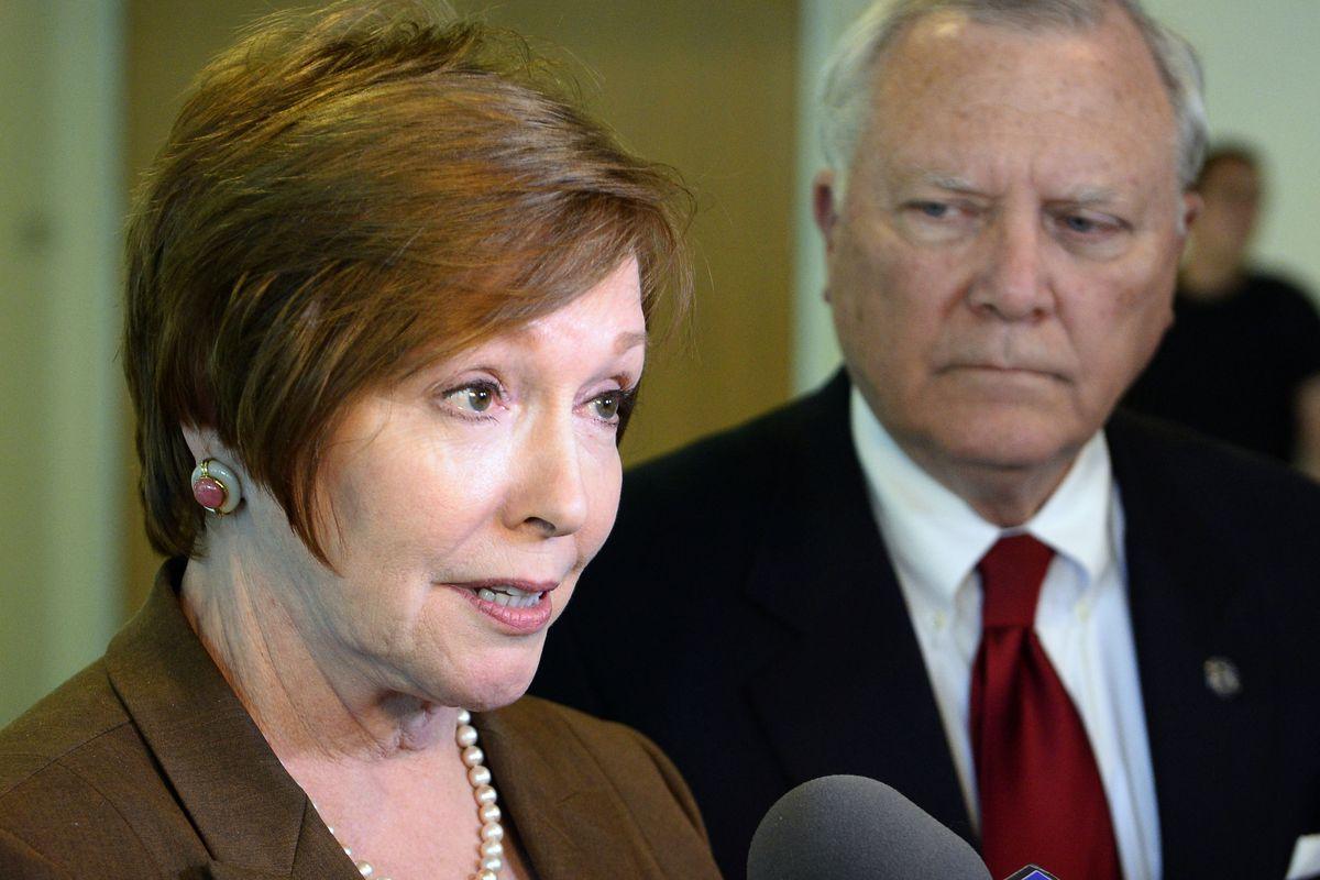 Brenda Fitzgerald, Georgia Department of Public Health commissioner, left, and Georgia Gov. Nathan Deal in October, 2014.