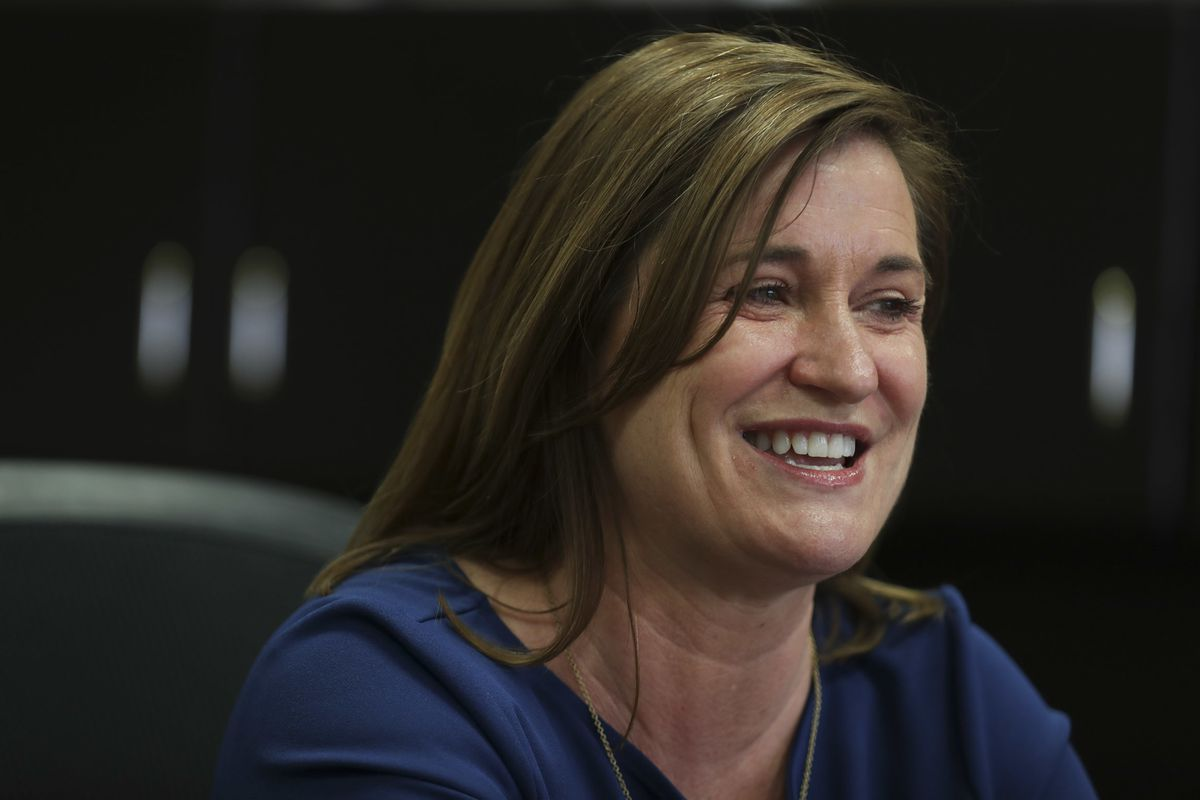 FILE - Newly elected Salt Lake County Mayor Jenny Wilson speaks during an interview in her office in the Salt Lake County Government Center on Thursday, March 28, 2019. Salt Lake County residents are invited to meet with Wilson during five town halls in t