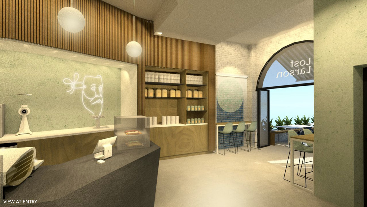 A rendering of a modern cafe space.