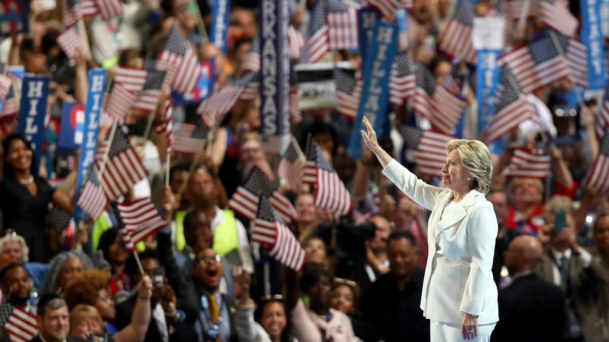 Democratic presidential nominee Hillary Clinton acknowledges the crowd as she arrives at the Democratic National Convention.