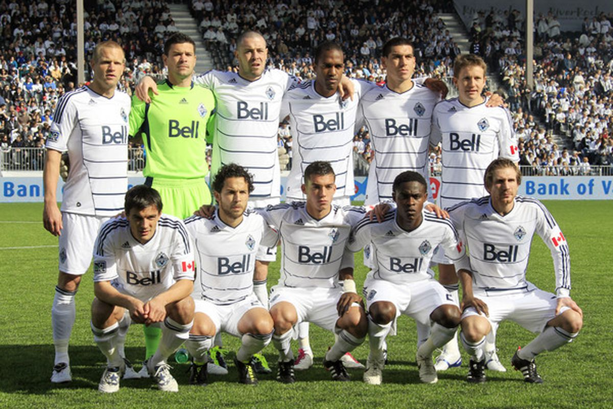 The Whitecaps Starting XI for their first ever MLS match at home to Toronto FC on March 19, 2011