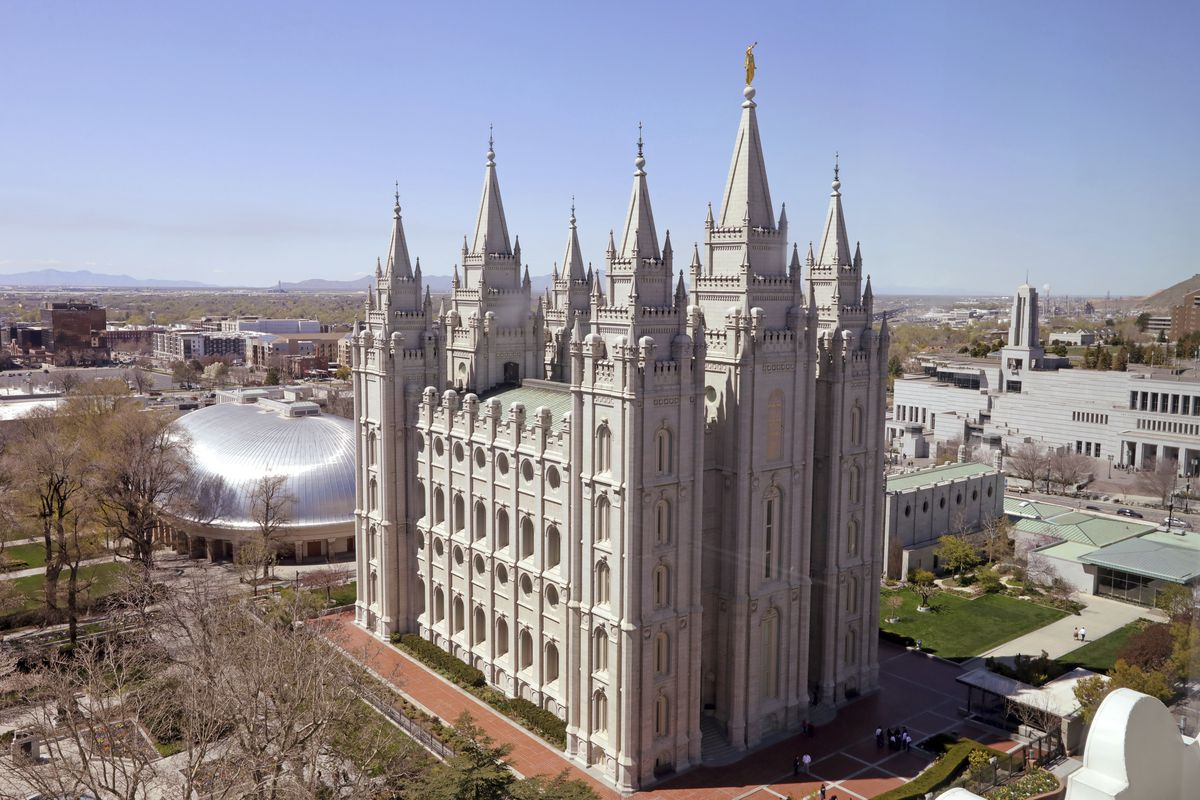 FILE - This Thursday, April 18, 2019, photo, shows the Salt Lake Temple in Salt Lake City. A spokesman for The Church of Jesus Christ of Latter-day Saints denounced a news story reported by Vice News, saying that the media outlet mischaracterized the fait