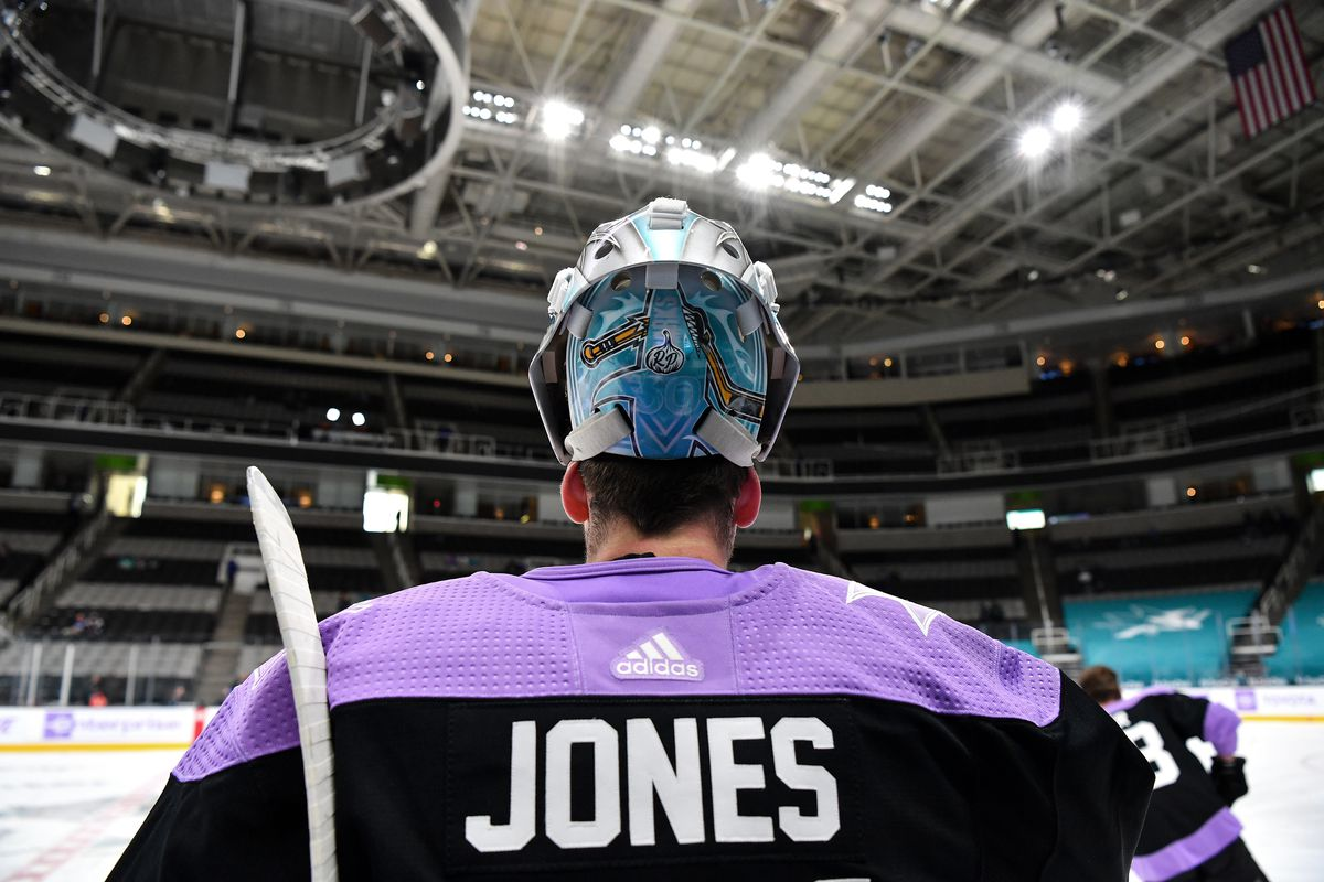 Martin Jones #31 of the San Jose Sharks skates during warmups in Hockey Fights Cancer warmup jerseys against the Colorado Avalanche at SAP Center on May 3, 2021 in San Jose, California.