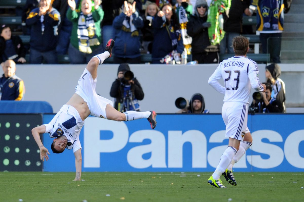 Mar 18, 2012; Carson, CA, USA; Los Angeles Galaxy forward Robbie Keane (7) reacts after a goal against the D.C. United during the second half at the Home Depot Center. The Los Angeles Galaxy won 3-1. Mandatory Credit: Kelvin Kuo-US PRESSWIRE
