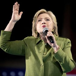 Democratic presidential candidate Hillary Clinton speaks at a rally in Entertainment Hall at the Florida State Fairgrounds in Tampa, Friday, July 22, 2016.