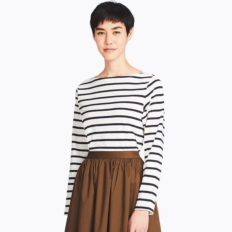 uniqlo model in striped long-sleeve tee