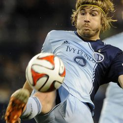 Sporting KC's Antonio Dovale boots the ball during a game at Sporting Park in Kansas City, Kan., on Saturday, April 5, 2014.
