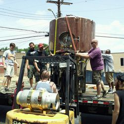 Bringing in the 20 BBL fermentor tanks for the first time.