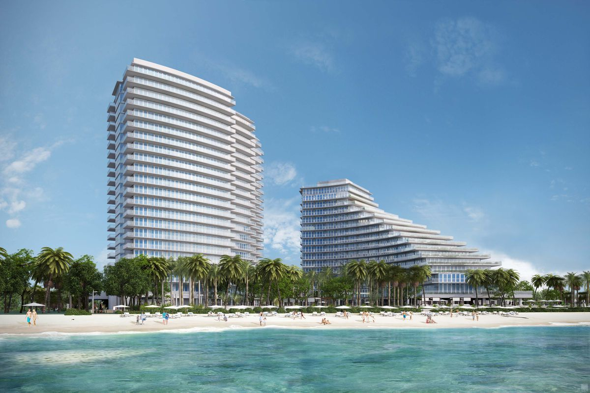 Rendering of Auberge Beach Residences & Spa Fort Lauderdale with an ocean in front of a luxury two tower condo