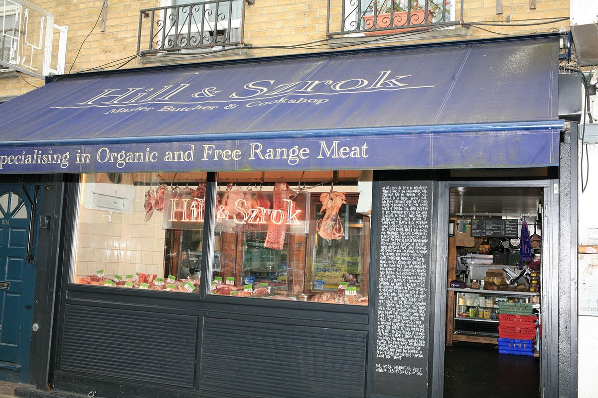 Hill and Szrok butcher and cookshop, Brodway Market, east London