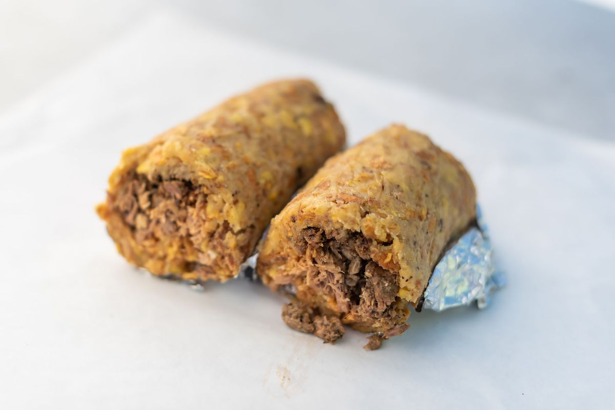 Mofongleta, a burrito-like creation at Triple Threat Truck.