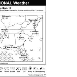 This is the Weather Underground forecast for Saturday, September 15, 2012 for the southern region of the U.S.