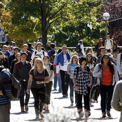 Class break at Brigham Young University in Provo, Monday, Oct. 8, 2012.