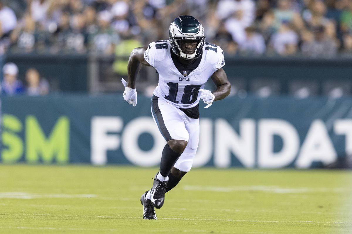 Jalen Reagor #18 of the Philadelphia Eagles runs a route against the New England Patriots in the preseason game at Lincoln Financial Field on August 19, 2021 in Philadelphia, Pennsylvania. The Patriots defeated the Eagles 35-0.