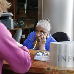 Deseret News editorial board member Catherine M. Stokes, volunteers at the front desk of the Huntsman Cancer Hospital Tuesday, March 13, 2012, in Salt Lake City, Utah.
