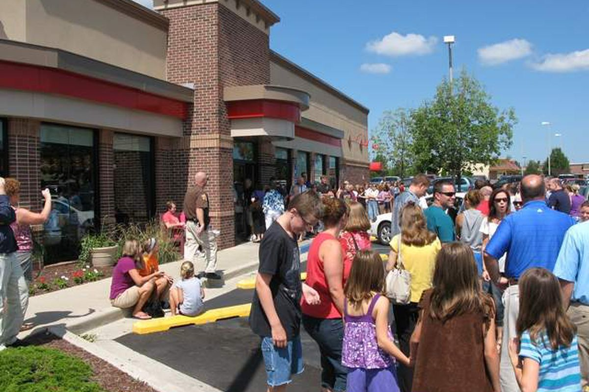 Crowds lined up outside Chick-fil-A in Fort Wayne, Indiana.