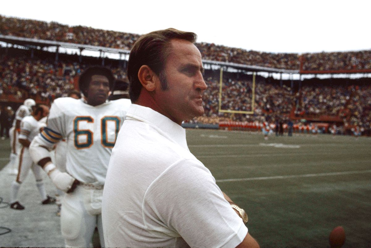Don Shula, Coach of the Miami Dolphins, before the NFL football game against the Baltimore Colts in Miami, Florida, December 16, 1972.