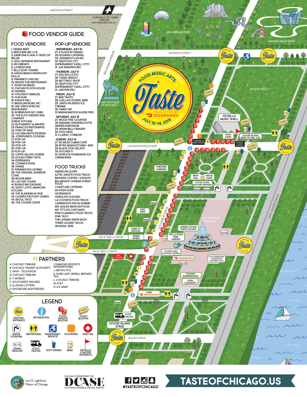 The 2019 Taste of Chicago site map.