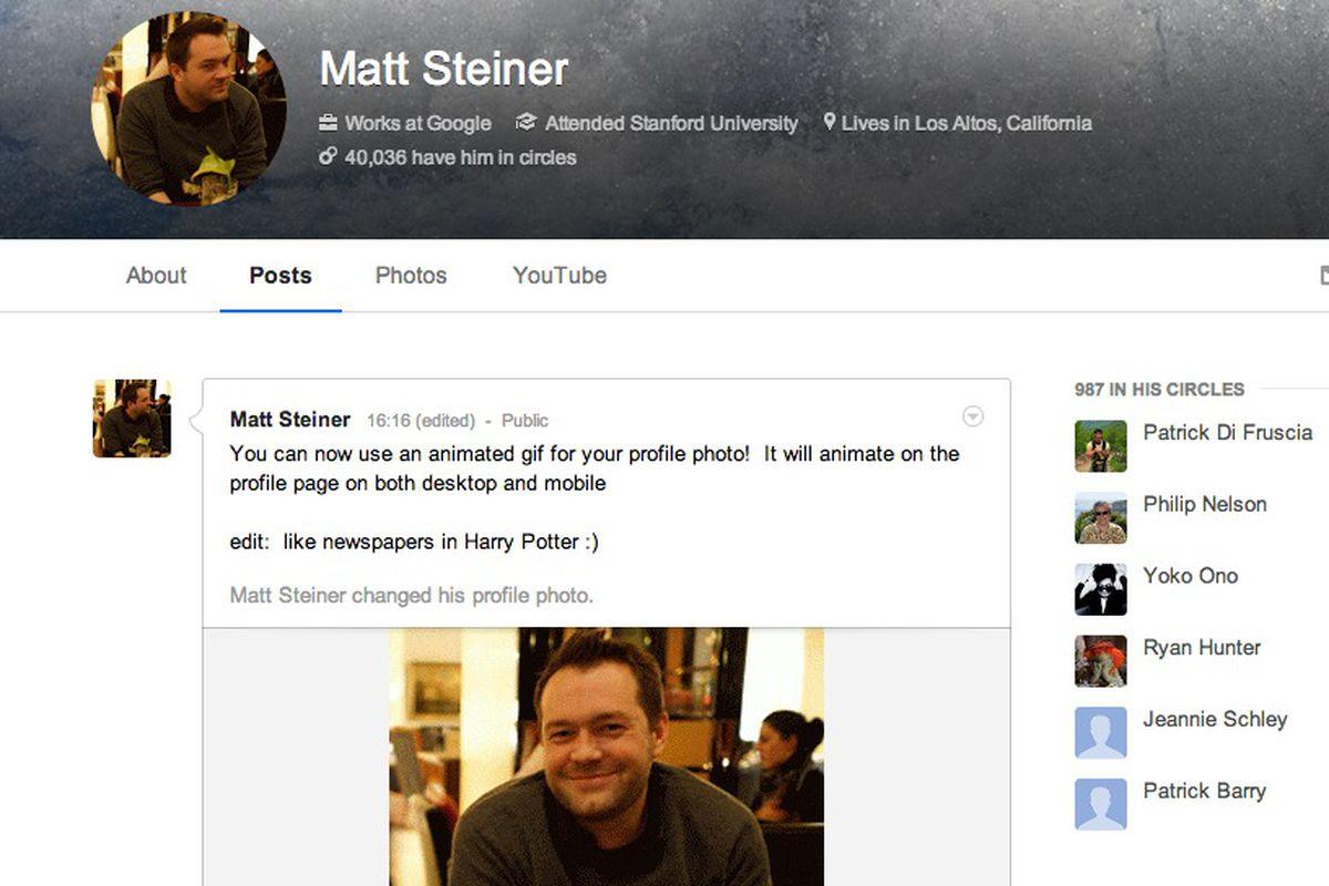 Google+ GIF profile image