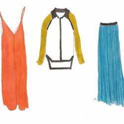 Left to right: T by Alexander Wang Silk Slip dress, cayenne, $295; Primary shirt, white, $265; Enza Costa Pleat skirt, blue, $207.