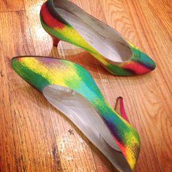 Bruno Myalgia rainbow heels $54. Size 7.5