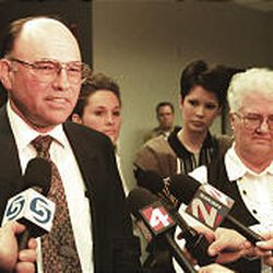 Attorneys and the family of Brenda Lafferty talk with the news media on April 17, 1996, after Ron Lafferty received the death penalty.