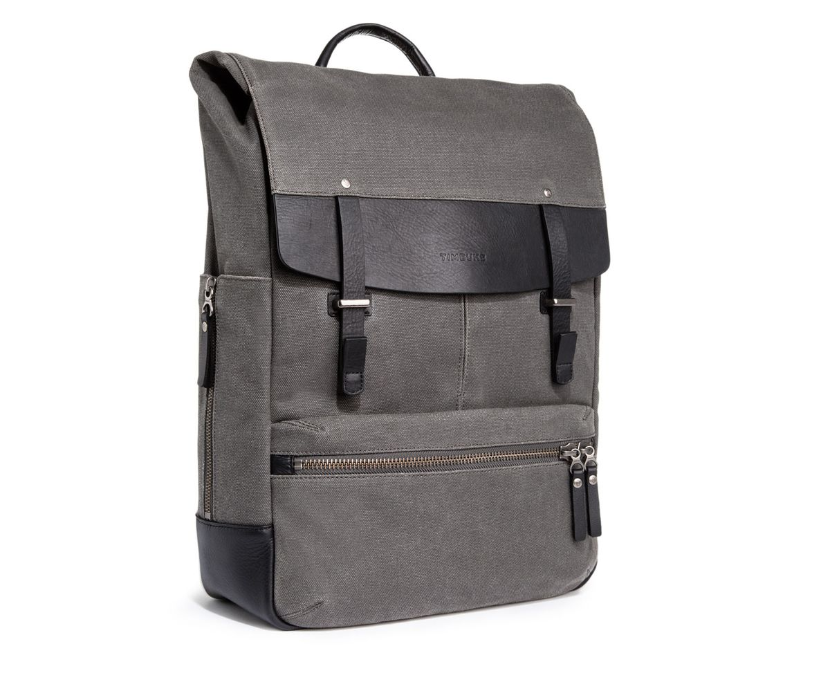 A grey twill backpack