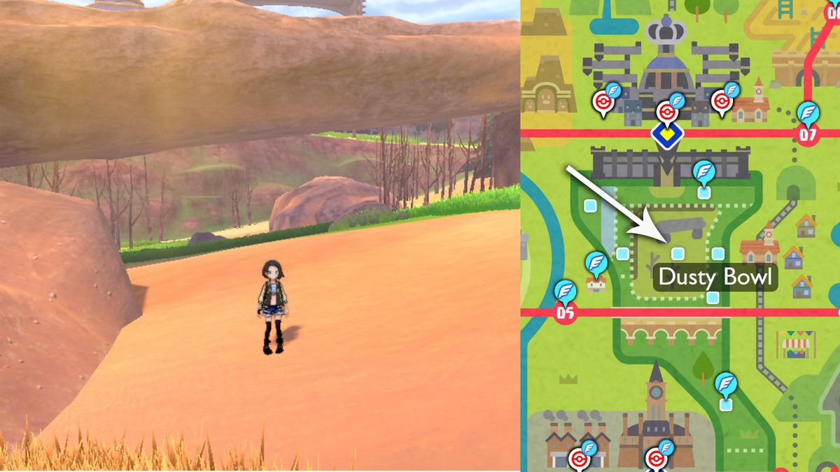 A map points out where to evolve Galarian Yamask in Pokémon Sword and Shield