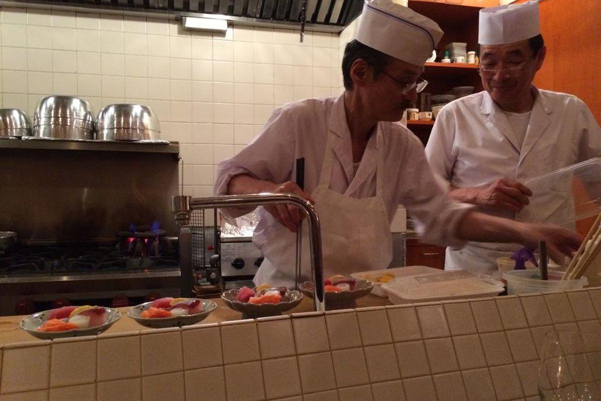 Sugiyama's open kitchen.